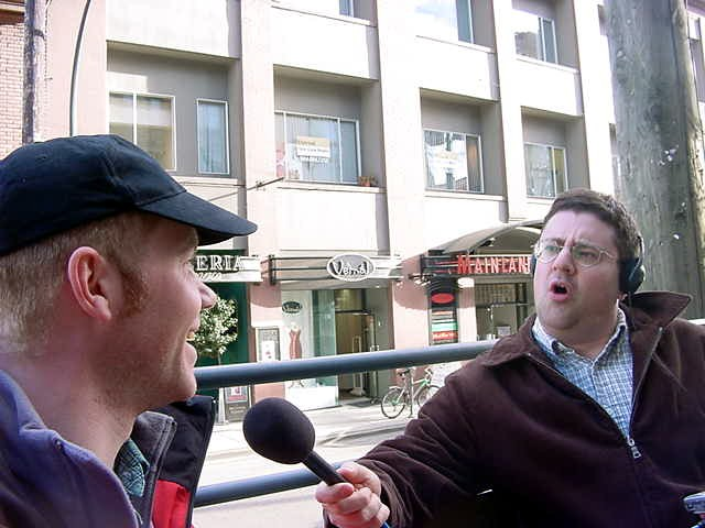 Peter Brown from That Saturday Show interviews me on the street. - So Ramon, what do you think about Yaletown? The most expensive area in Vancouver to live in, while you stay here for free?