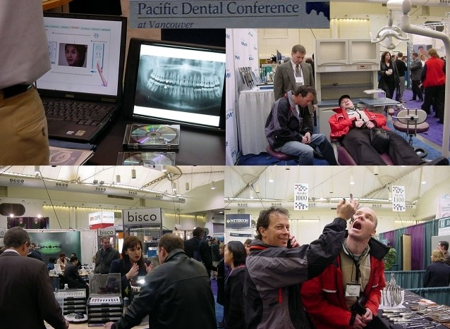 So of course I had to see some of that convention too and they group pulled me through this huge hall with all kinds of new tools, products and services for dentists. Information about teeth, chair testings, everything about drills and of course Steven had to test another new thing on me...