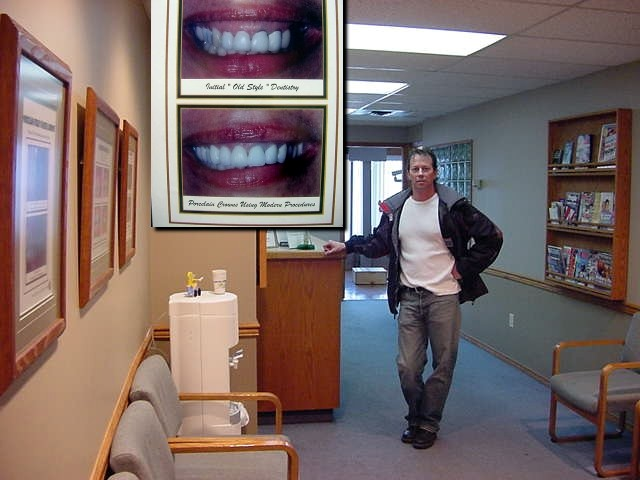 Steven took me along to show me his dental practice. And you see what he does best, making people look better with new porcelain crowning technologies.