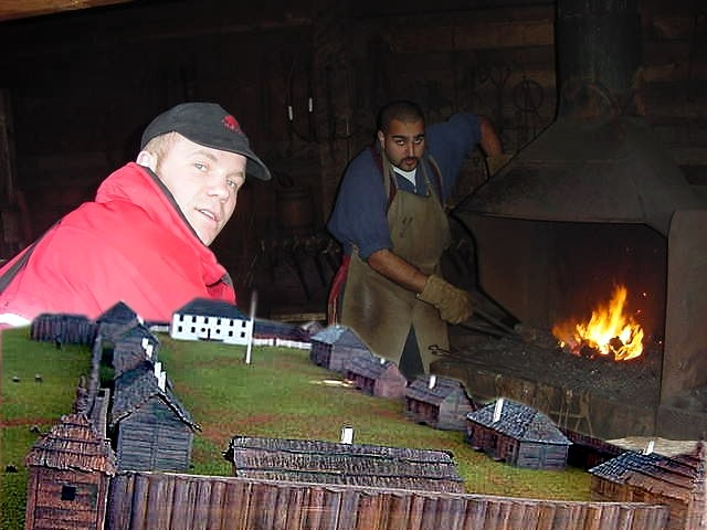 Below an miniature version of the Fort and above: I get treated a present from the blacksmith.