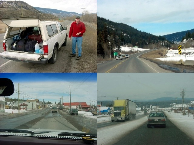 Peter from Salmon Arm took me along. He had actually heard about me on the radio, as the guy in the red jacket hitchhiking!