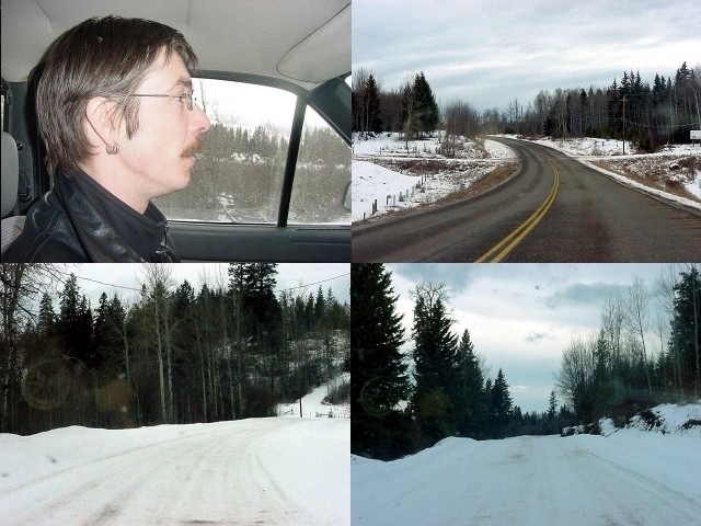 And then we were on our way to Thomass house along Elk Lake, quite a drive out of Williams Lake. The road got smaller and whiter...