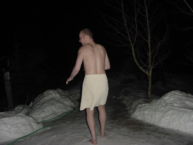 Dressed in only a towel on my way to the bath tub in the snow... cold feet!