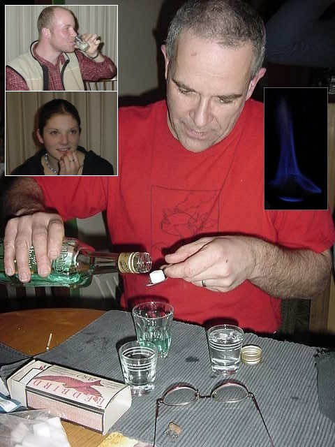 But he was good preparing Absinth. Absinth is 70% alcohol. Bob first puts some on a spoon with a sugar cube, than lights this cube and when the aroma is starting to brown it is ready to be mixed in a glass with the same amount of water. Stirr it up and pass it around. It was good!