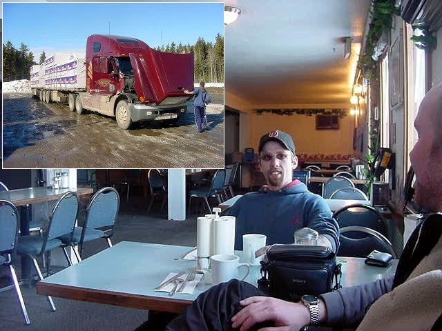 This truck driver approached me at the gas station near McKenzie and offered me a ride so he could have some company.