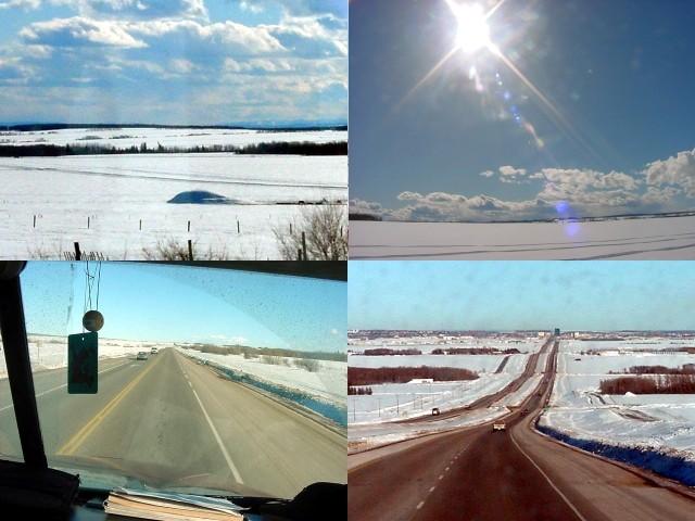 The countryside and road views in Alberta...
