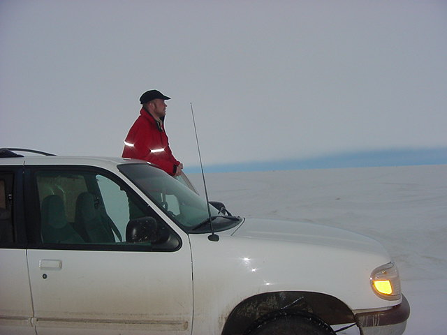 Wow. Standing ON the Great Slave Lake at the moment. With truck and all. And Yellowknife is some 300 miles away up north...