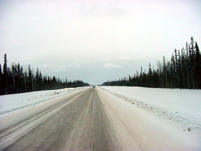 On the long snowy road to the west...