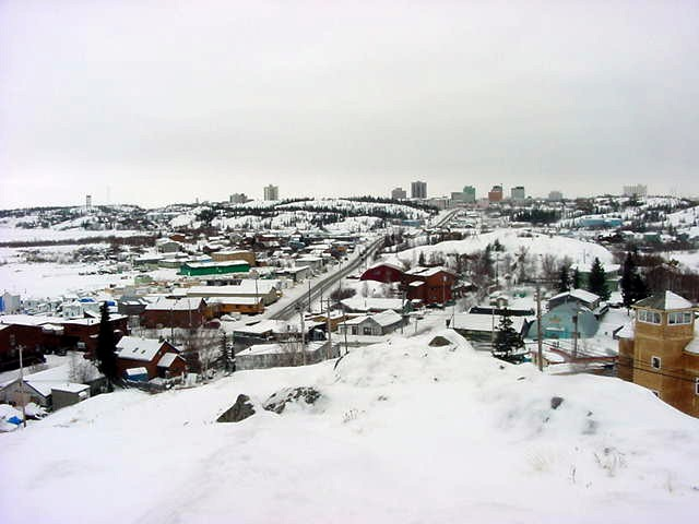 Yellowknife as seen from Twin Pine Hill in the middle of town.