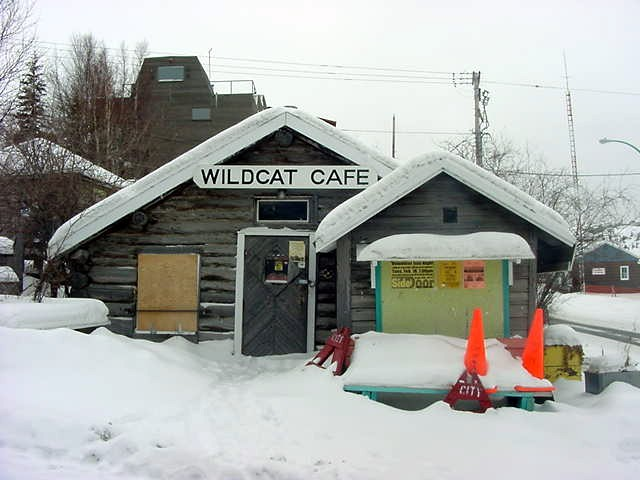 Wild Cat Caf�, a small log cabin that operates - as it has done on and off since 1937 - as a meeting place, a restaurant and place of entertainment. It seems off for a while again...