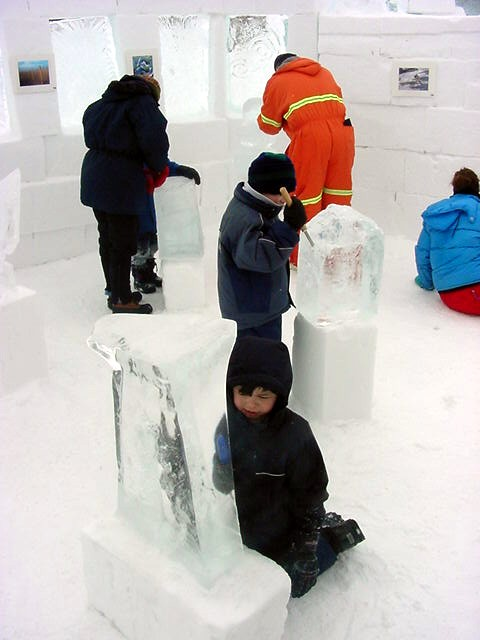 Inside the castle, made by a local named the Snowking, kids were having fun during an ice sculpturing workshop.