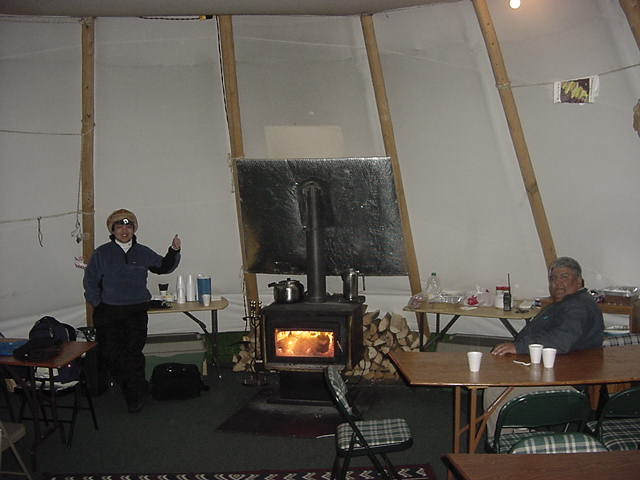 I was welcomed in the main teepee, which was comfortable heated. Good!