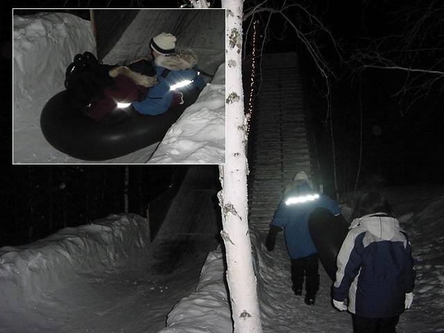 Heck, there even was a slide where we could slide off in the darkness.
