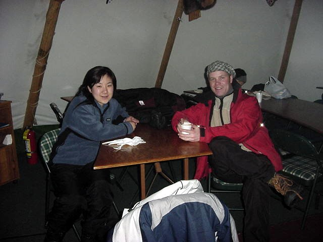 Having a hot chocolate with one of the Japanese interpreters. She works here seasonal. In the summer time this lady works at the Niagara Falls, touring around Japanese tourists.