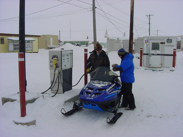 As we are going for a tour, the skidoo had to be filled up.