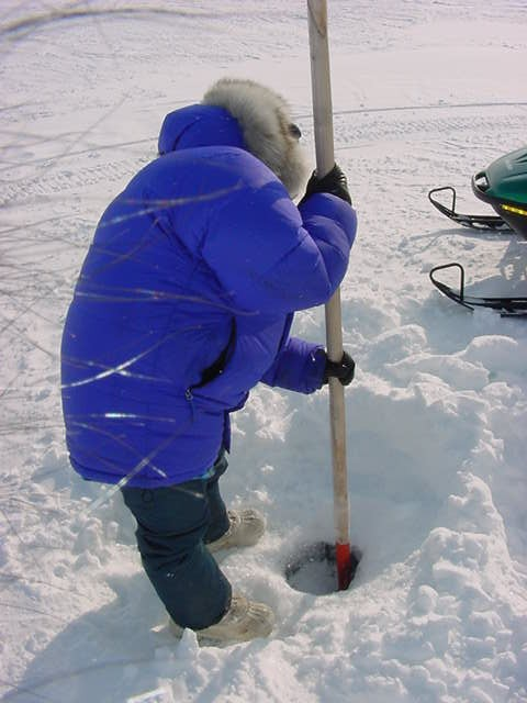 First you have to get through the two-meters-thick layer of ice to hit water.