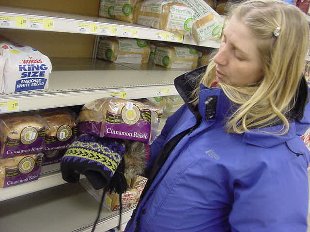 I had to experience the local supermarket while I was here. Becky shows me the price of bread. About $4. And over date.