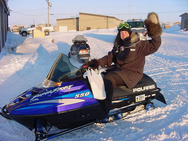And when done with groceries, I take the skidoo and head home with Becky on the back.