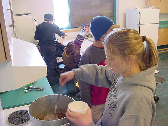 At the high school in Kugluktuk I was invited to join in on lunch as one of the students prepared caribou soup.