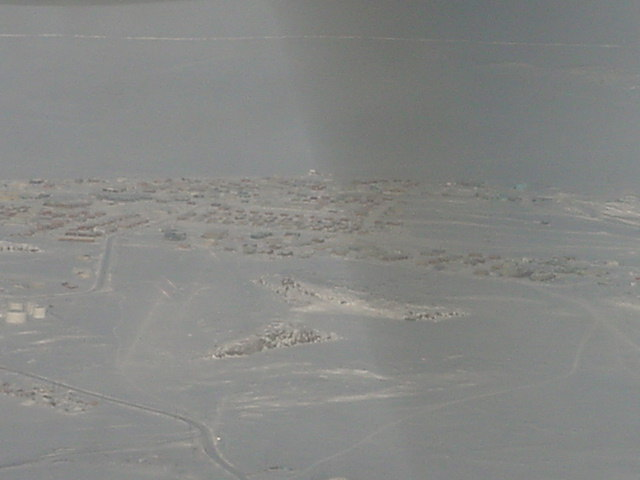 And the small town Kugluktuk as seen from the sky. It really IS remote!