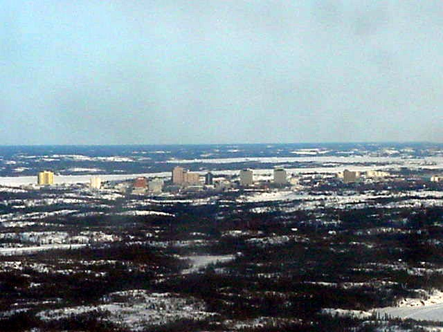 Two hours later I saw the skyline of Yellowknife.