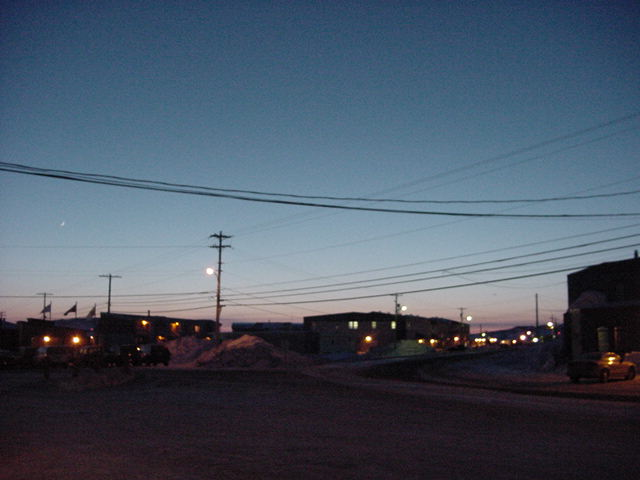 Iqaluit streets by night.