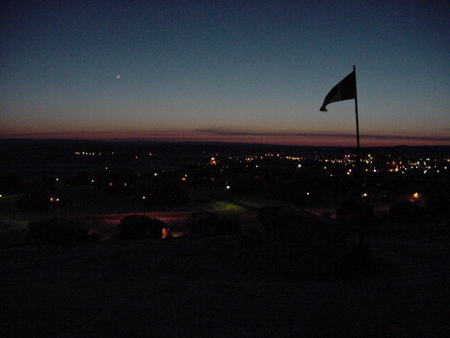 Iqaluit as seen from the hill where Adamee lives at night.