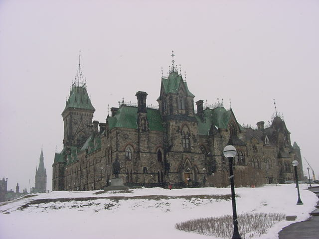 More parliament buildings in Ottawa. The copper roofs have turned green.