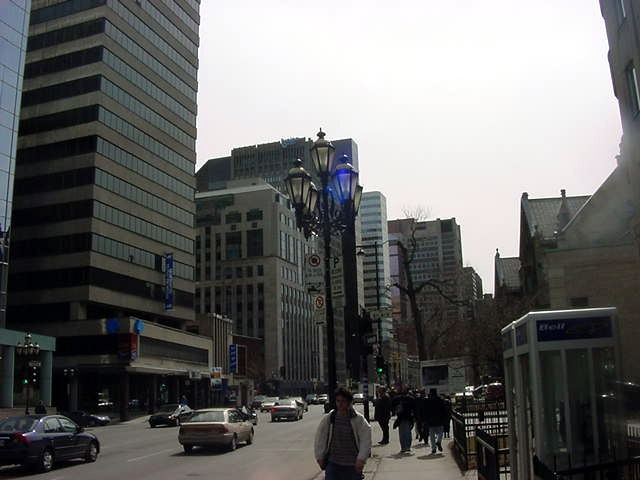 Walking down Avenue de Sherbrooke towards the McGill University in Montreal.