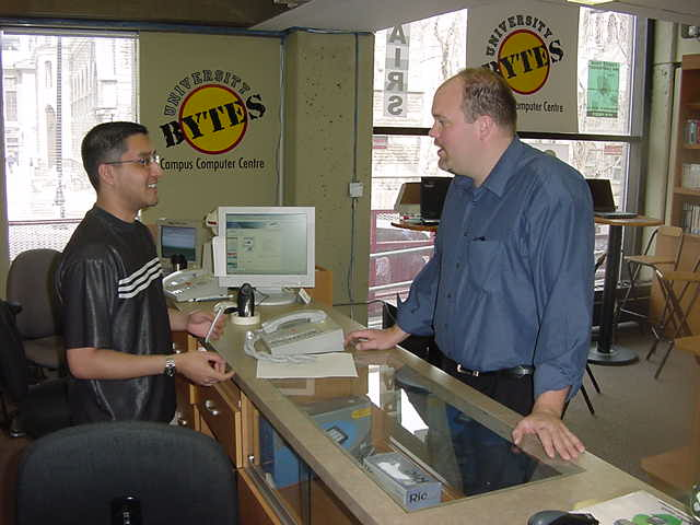 Mark Burwash took me along to his computer shop University Bytes in the student union building.