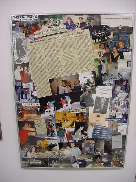 Next to her desk hangs this big collage with paper clippings, photos and an article she published after the murder of her soulmate Sander Thoenes.
