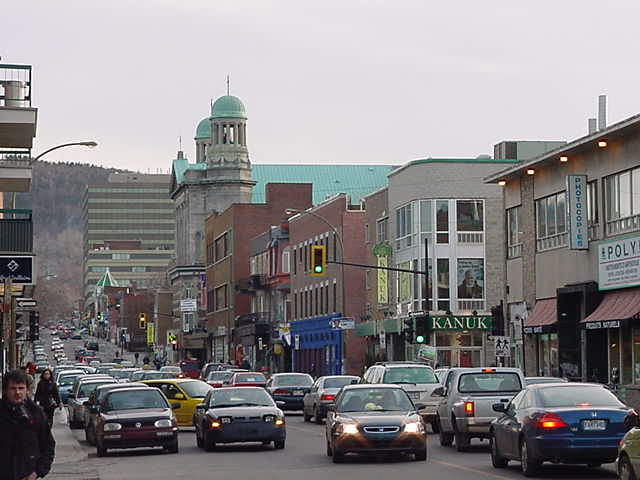 Walking along Rue St Denis in the Latin Quarter of Montreal.