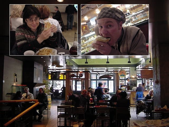 The French can be a bit grudging on food, that<#k#>'s a world known fact, so it took an entire walk through the Old Montreal to find a restaurant that would suit their needs. In the meantime Sandy showed us all around, keeping her eyes open for a good lunch spot. But at the end, Sandy had enough of her brother<#k#>'s complaints and choose a simple Greek restaurant.