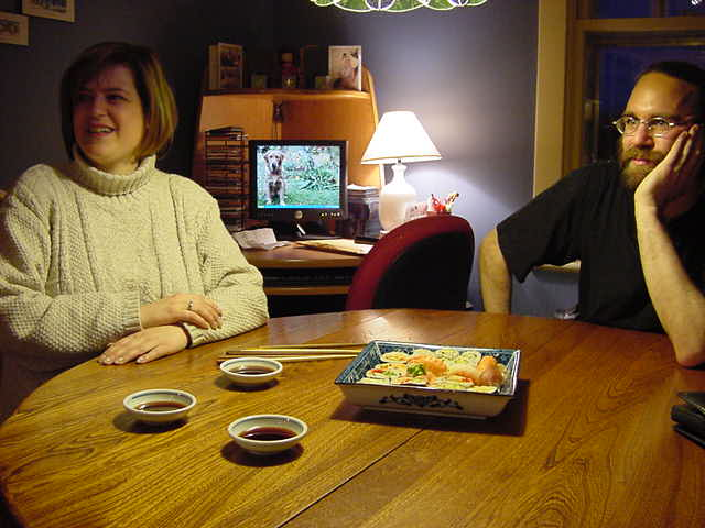 Ann s sister Lala and her tennant Rob joined us for dinner tonight. Mmm, just look at that sushi!