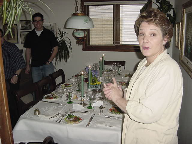 Mary anounces that dinner is being served!