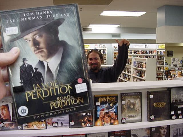 Martin at the video store downtown, where we rented this dvd for tonight!