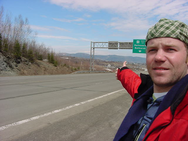 Hitchhiking along the road, just before Campbellton. I am only halfway now.