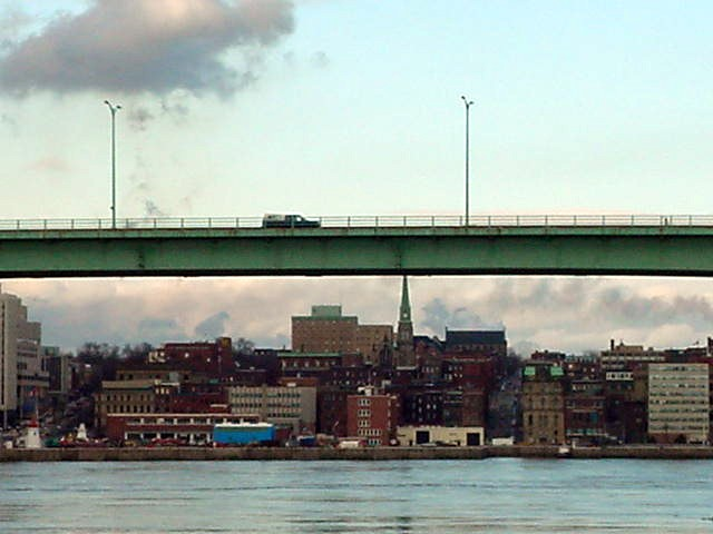 The city centre of Saint John with the highway over the water.