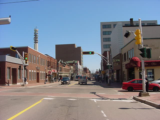 Moncton city central. A small town to me, but it is also Canadas first officially bilingual city. Now what was the other languaga again, besides English?