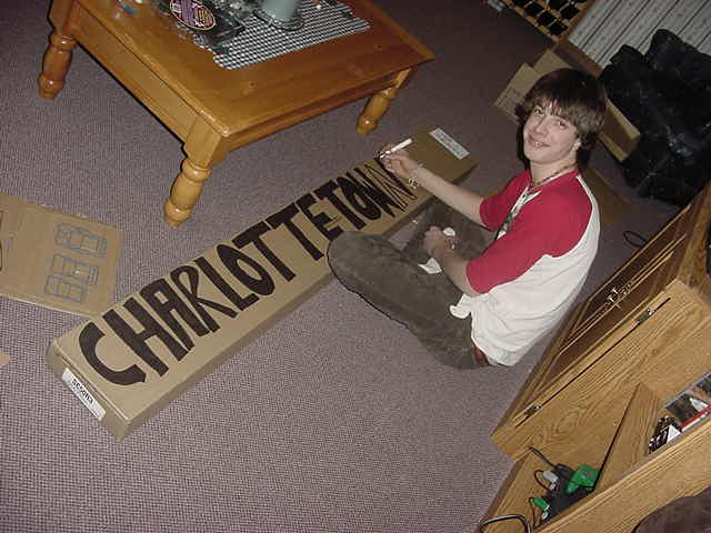 Greg decided to help me out with the hitchhiking sign for my next destination tomorrow. He thought this would be big enough.