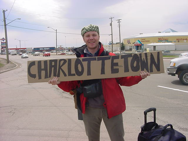 After breakfast I was dropped off at an onramp to the highway just outside of Moncton. I am heading to Charlottetown with the hitchhiking sign that Greg made for me. I think it will work out today.