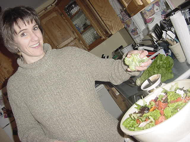 Back home in Stratford Lynn was preparing salad for tonights dinner out!