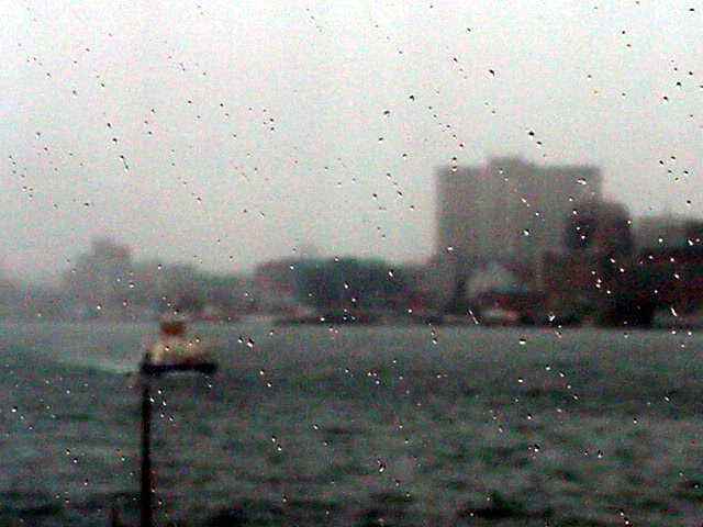 Raindrops on the ferry window.