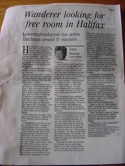 Hey, that is the story that was published in the Halifax Chronicle Herald last Saturday!