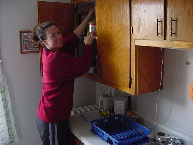 I joined Jeannine in the kitchen where she made me coffee and tea for herself while she finished that last plates of some dirty dishes.
