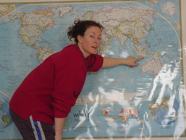 We moved to the living room, where a huge map of the world covers almost one entire wall. She tells me about the travels of her brother, who sailed around the world in nearly two years.