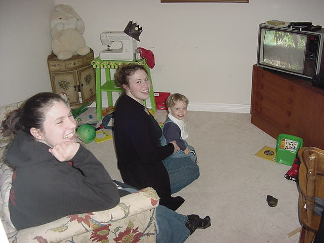 Jean told me about the old TV the family has. It is even tucked away in a small room, so it wont control everybodys life. A good thing. Of course all these kids toys are much more exciting!