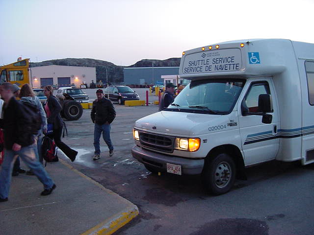 This little van dropped off the walk-on passengers at the ferry terminal of Port Aux Basques.