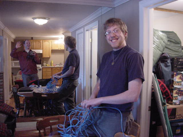 Meet Karl Houlihan, one of my biggest online fans. And he immediately gets a blue cable to connect my computer to his high speed connection.