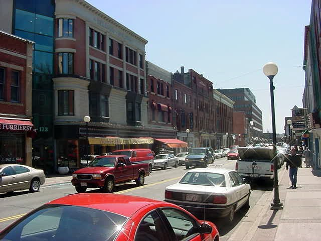 Walking down Water Street on this sunny day.